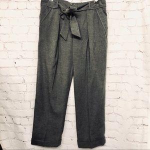 ANTHROPOLOGIE GREY TIE WAIST WIDE LEG DRESS PANT